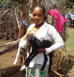 Shukare and two baby goats