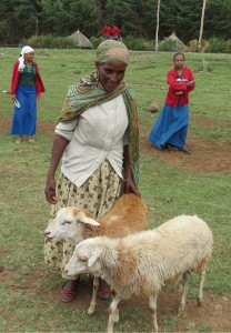 SHG beneficiary in Chancho with her two goats...and one is expecting!
