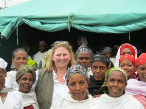 Debra with SHG women in Chancho