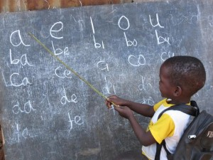 At the blackboard in Ethiopia.