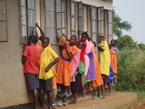 crowded Uganda classroom