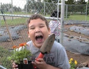 boy with marigolds