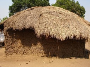 Evelyne's family - all nine of them - used to live in this one thatched hut.