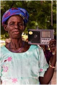 woman with radio
