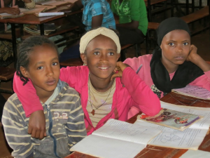School girls in Ethiopia. Religious and cultural practices often mean young girls like these are at risk of early marriage.