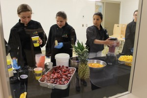 Students serve smoothies at Eel Ground FN.