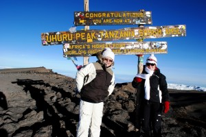 Anastassia and her mother at the top of Mount Kilimanjaro.