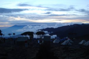 The group camps each night during the trek.