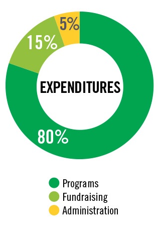 A pie chart showing 80% of expenditures going to programs, 15% going to Fundraising and 5% to administration