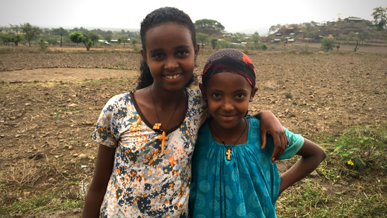 Ethiopian girls in field