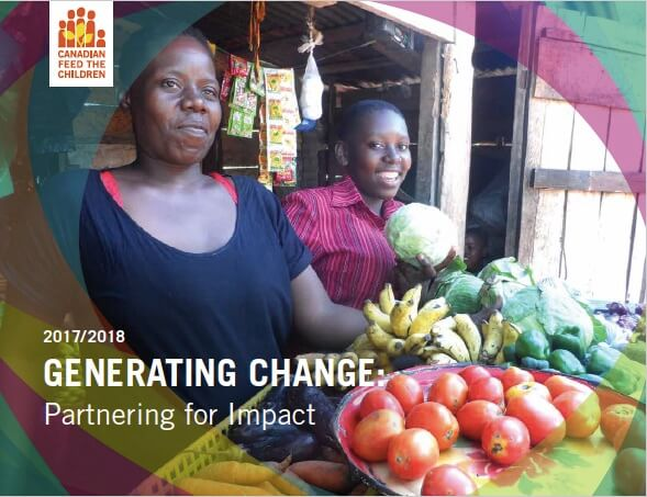 Cover of annual report 2018 show two African women selling fruit and vegetables