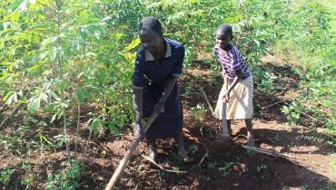 Mary and her grandaughter gardening
