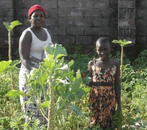 Praise and Rebecca in their garden