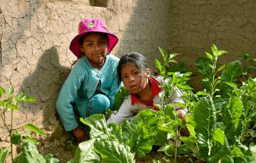 Two little girls in their garden