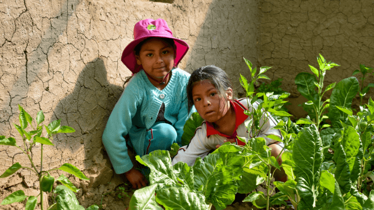 Two little girls pose in their garden