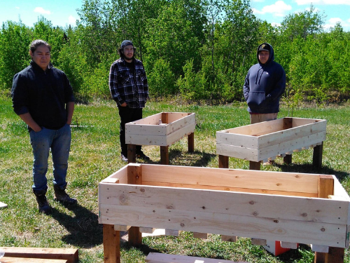 A group of young men posing next to wooden planter boxes they've made