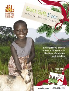 the best gift ever catalogue cover with a young girl holding a goat
