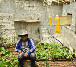a boy sits among his plants in his home garden