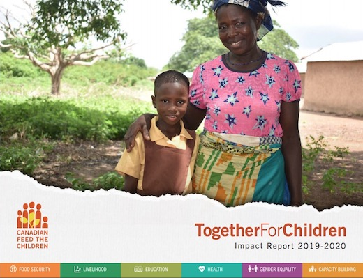Cover of annual report 2020 shows African mother and child standing outside