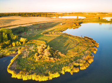 aerial shot of muskeg lake