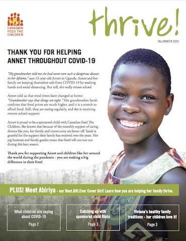 thrive magazine cover featuring smiling African girl and her mom